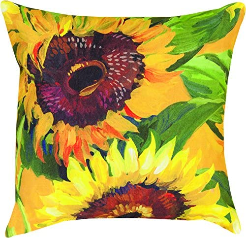 Manual Woodworkers Weavers Indoor Outdoor Climaweave Throw Pillow, Sunflowers, 18
