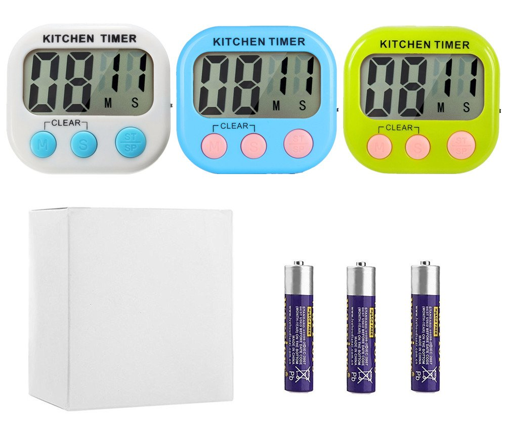 Great Polly 3 Pack Digital Kitchen Timer Cooking Timers Clock with Alarm Magnetic Back and Stand, Minute Second Count Up Countdown, Large LCD Display Batteries Included by Great Polly (Image #7)