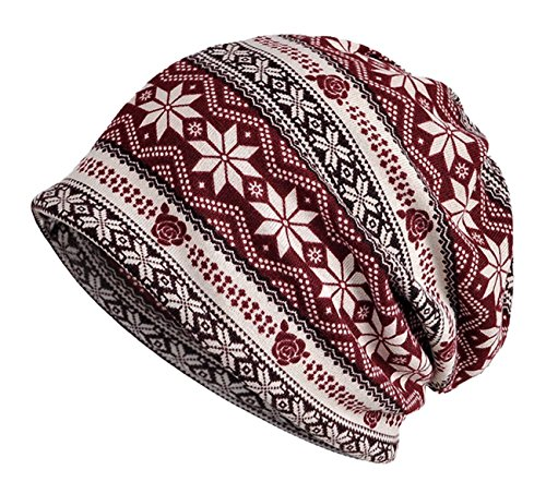 Aivtalk Yoga UV Protection Winter Thick Knit Neck Scarves Neck Wear Ponytail Rasta Autumn Winter Adult Unisex Snowflakes Multifunctional Slouchy Hat - Wine Red