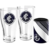 Carlton Blues AFL Set of 2 Pint Beer Glasses with Neoprene Can Cooler Stubby Holder