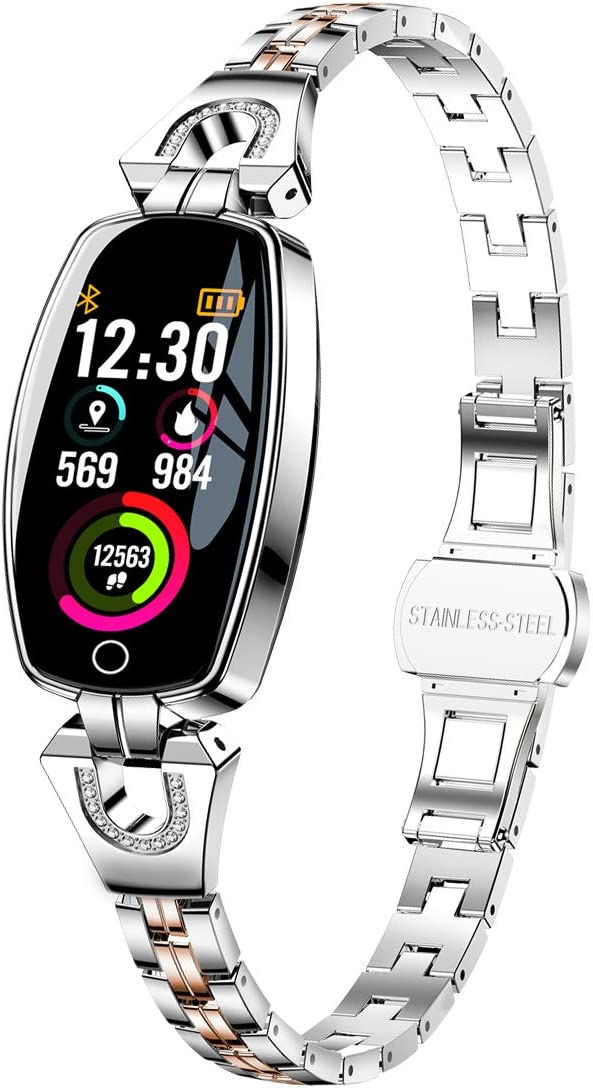 Exquisite Smart Watch, Fitness Tracker with Blood Pressure/Heart Rate/Sleep Monitor for Women, Silver