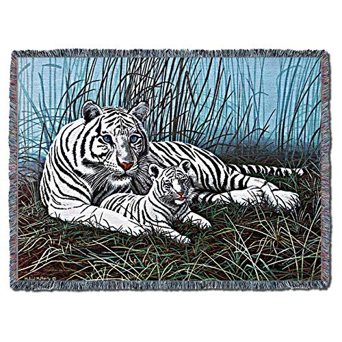 Pure Country Weavers | White Tiger in The Mist Woven Tapestry Throw Blanket Cotton with Fringe Cotton USA 72x54