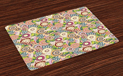 Lunarable Batik Place Mats Set of 4, Pastel Batik Background with Flower and Leaf Shaped Mix Line and Boho Pattern, Washable Fabric Placemats for Dining Room Kitchen Table Decor, Multicolor ()