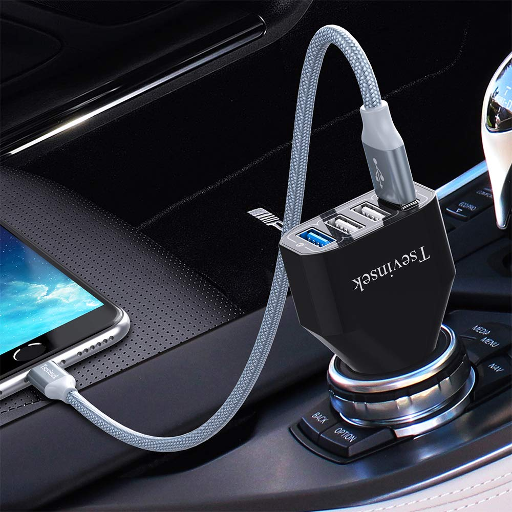 iPad Google Pixel and More Phones Tsevinsek 48W Quick Charge 3.0 Fast Car Charger Adapter with 4 Ports for Samsung Galaxy S10 S9 S8 S7 Plus Note 9 8 iPhone Xs Max XR X 8 7 6 Plus USB Car Charger