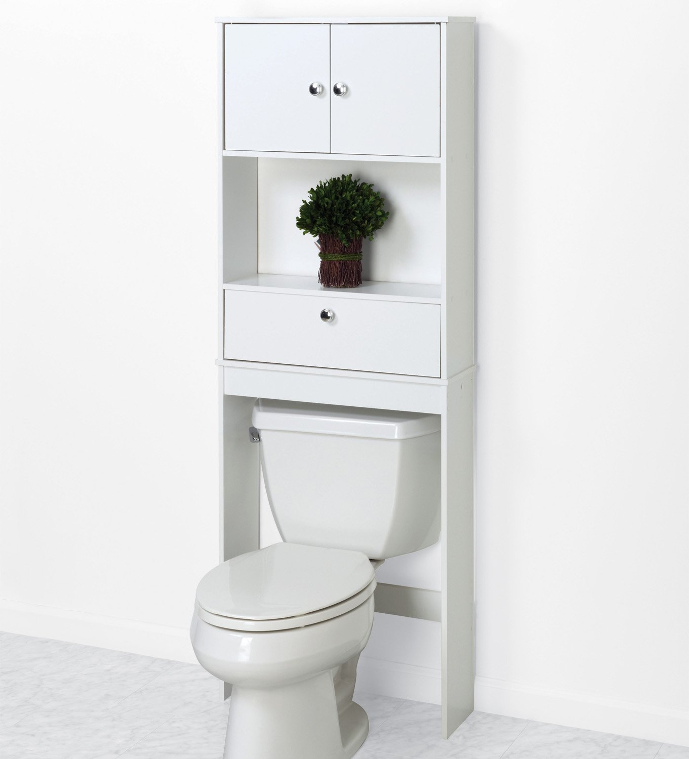 bathroom over toilet drop door shelf cabinet bath space saver storage rack white ebay. Black Bedroom Furniture Sets. Home Design Ideas