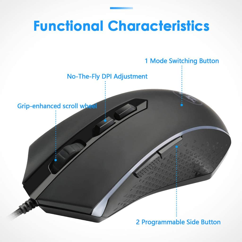 Heyuan Redragon M710 USB Wired Gaming Mouse Backlit 5600 DPI 7 Programmable Button