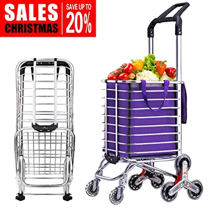 982b8809dc59 Yuminer Folding Shopping Cart, Stair Climbing Cart, Lightweight Transit  Utility Cart with Rolling Swivel Wheels for Grocery and Stairs