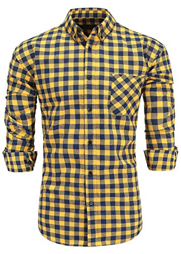 KateSui Men's Slim-Fit Long-Sleeve Button-Down Flannel Plaid Shirt Small Navy Yellow (Plaid Yellow Flannel)