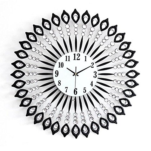 Magshion 3D Large 23.6 inch Unique Crystal Round Iron Wall Clock W/ Wall Hooks - Sun Burst Clock