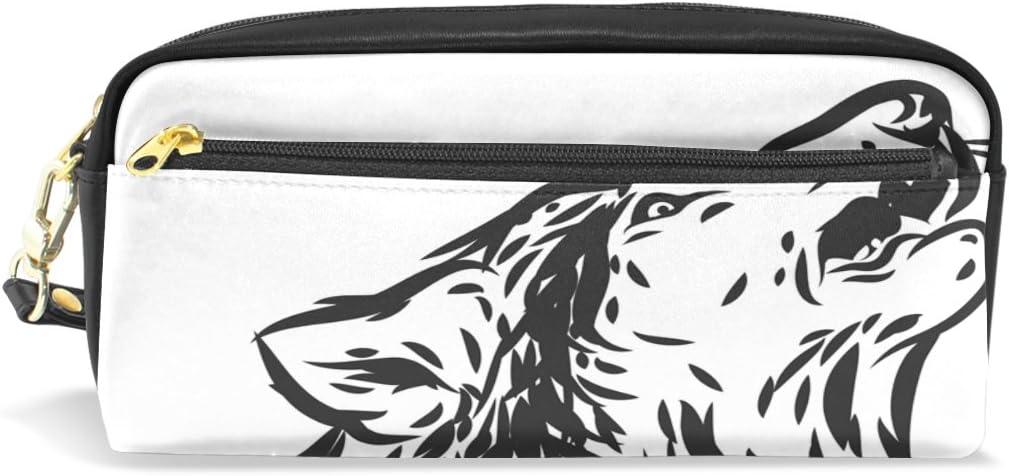 COOSUN Blanco y Negro Howling portátil de Cuero de la PU Caja de lápiz de la Pluma de la Escuela Bolsas Bolsa de la Caja Fija de Gran Capacidad Maquillaje cosmético Bolsa Grande