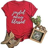 Women Joyful Merry Blessed Tee Shirt Funny Letter Print Short Sleeve Blouse Tops