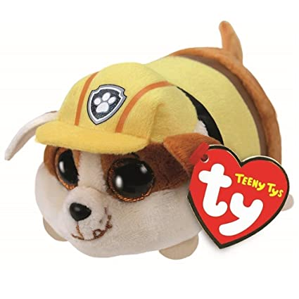 cb1d8e982b2 Image Unavailable. Image not available for. Color  Ty Beanie Boos 4 quot  Teeny  Tys Paw Patrol RUBBLE Stackable Plush