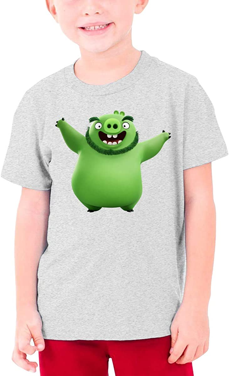 RuiPeng Customized Angry Birds Green Pig Funny Tshirts O-Neck for Youngster Black