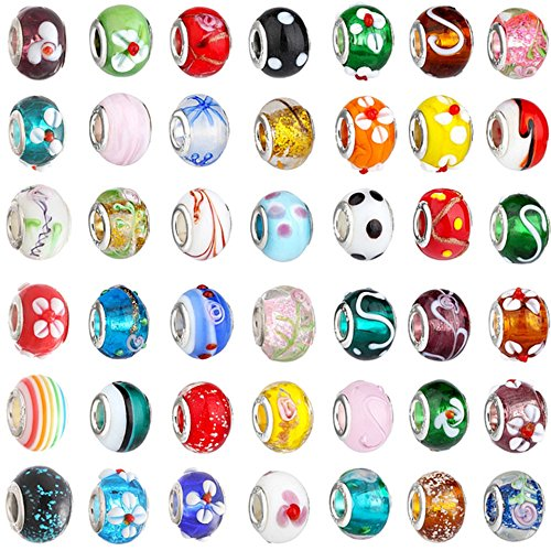 Set of 20 Assorted Mixed Glass Bead Charms for Snake Chain Bracelets