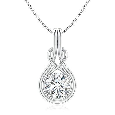 3ed3712298bee Amazon.com: Round Moissanite Solitaire Infinity Knot Pendant in ...