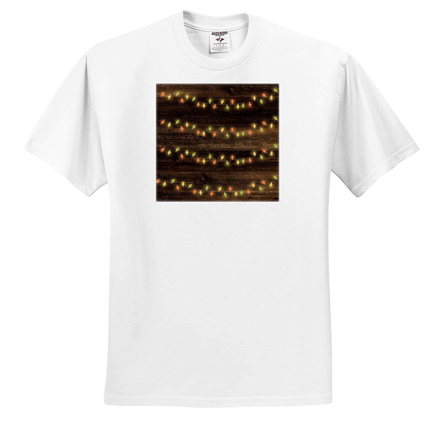 3dRose Anne Marie Baugh Image of Brown Wood with Image of String Lights Adult T-Shirt XL Patterns ts/_316245