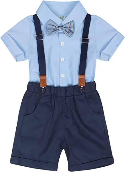 Infant Kids Baby Boy Gentleman Tops T-shirt Suspenders Strap Shorts Set Outfit A