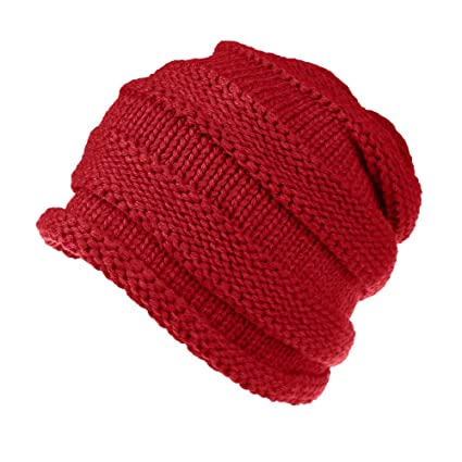 f1062bb4 Image Unavailable. Image not available for. Color: Chartsea Knitted Winter  Slouchy Beanie Hat - Oversized Unisex Crochet Cable Ski Cap ...