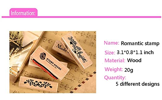 Youkwer 5Pcs Cute DIY Wooden Rubber Stamps Diary Scrapbooking Stamps Set (Flowersides and Letters,Set of 5)