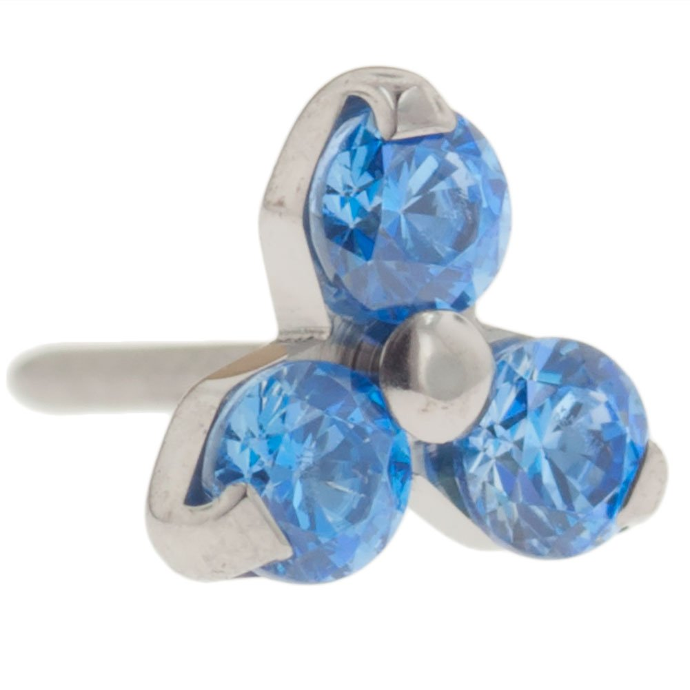 Steel Navel Body Jewelry Threadless Titanium Multi-Faceted Gem Trinity End 18g High Polish