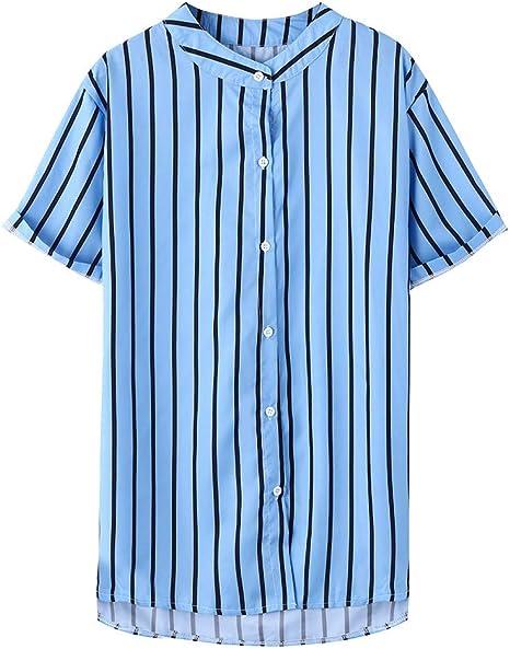 Morran Camisa a Rayas para Hombre Moda Manga Larga Cuello Mao Regular Fit Shirt Hombres Básica Casual Blusa con Botón Camisas Tops Tallas Grandes: Amazon.es: Ropa y accesorios