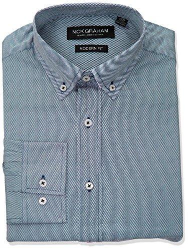 (Nick Graham Men's Micro Dot Print Stretch Dress Shirt, Navy, 18