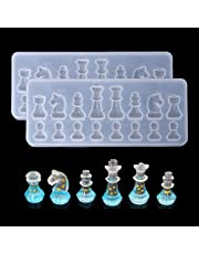 2Pcs Chess Pieces Resin Molds, International Chess Silicone Mold Epoxy Resin Craft Casting Chocolate Candy Fondant Sugar Craft Clay Cake Decorating Tools