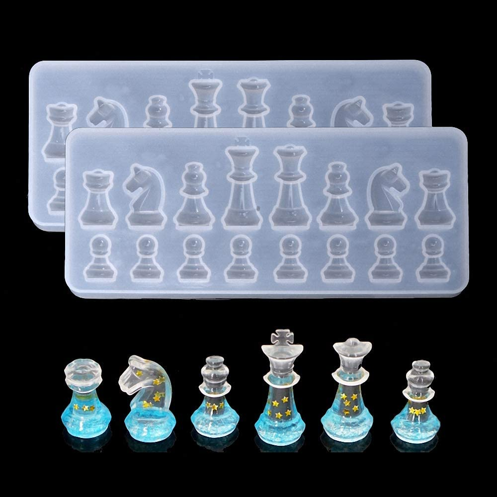 4 Pieces Chess Pieces Resin Molds Chess Shape Silicone Molds Jewelry Making Epoxy Mould for Chocolate Candy Fondant Cake Candle DIY Decorating Tools Handmade Supplies