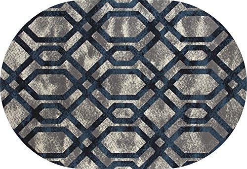 Art Carpet Bastille Collection Fretwork Border Woven Oval Area Rug, 5' x 8', Gray/Blue