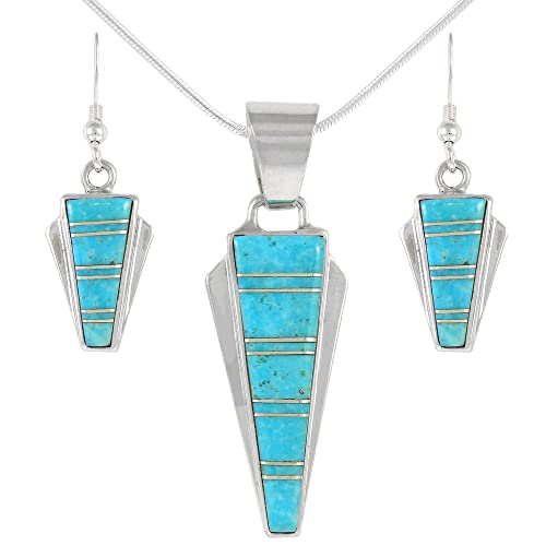 925 Sterling Silver Matching Pendant Earrings Set Genuine Gemstones 20 Necklace