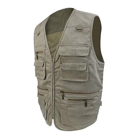 0a283840ba8f3e Segolike Men s Vest Fishing Hunting Photography Multi-pocket Jacket Casual  Denim Vest - khaki