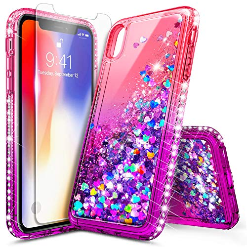 iPhone Xs Max Case with Tempered Glass Screen Protector for Girls Women, NageBee Glitter Bling Liquid Floating Quicksand Waterfall Sparkle Durable Cute Case for iPhone Xs MAX 6.5 inch -Pink/Purple