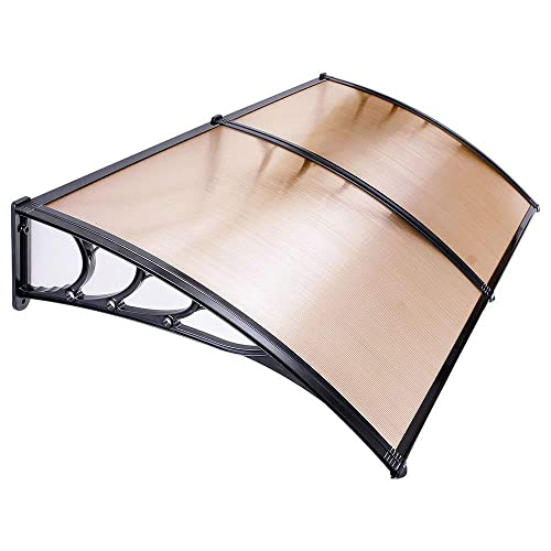 UV Protection Overhead Clear Outdoor Patio Awnings, Window Awnings – GC Global Direct 6.5FT, Coffee