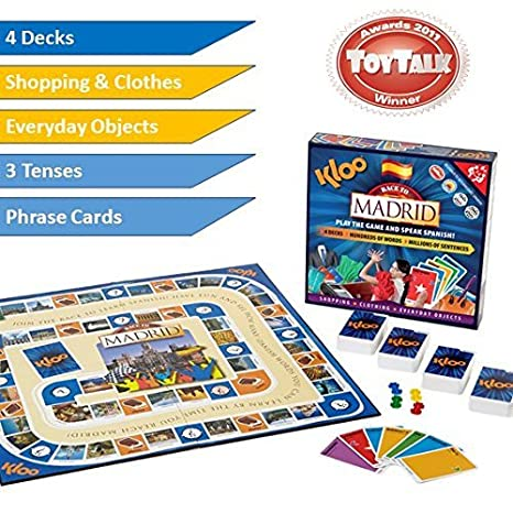 KLOOs Learn to Speak Spanish Language Board Game - Race to Madrid by KLOO Games