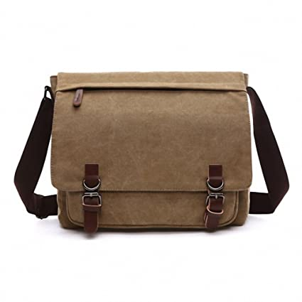 1eeaf9b2fd Image Unavailable. Image not available for. Color  Canvas Leather Crossbody  Bag Men Military Army Vintage Messenger Bags Postman Large ...
