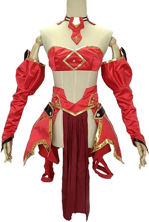 YKJ Anime Cosplay Masquerade Señora Uniforme Rojo Sin Espalda Tapa ...