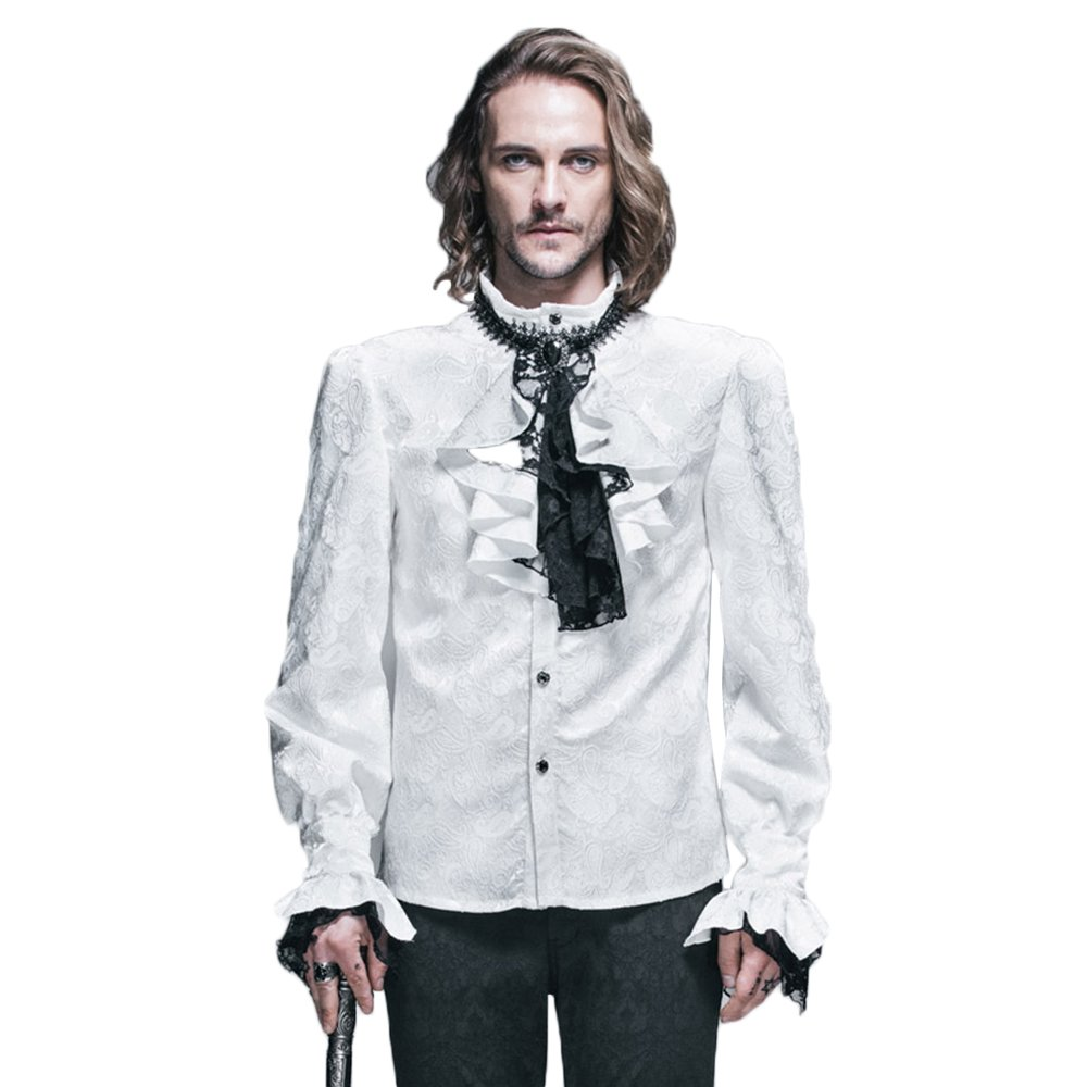 Devil Fashion Steampunk Men Shirts Gothic Victorian Shining Tuxedo Shirts Blouses TT001