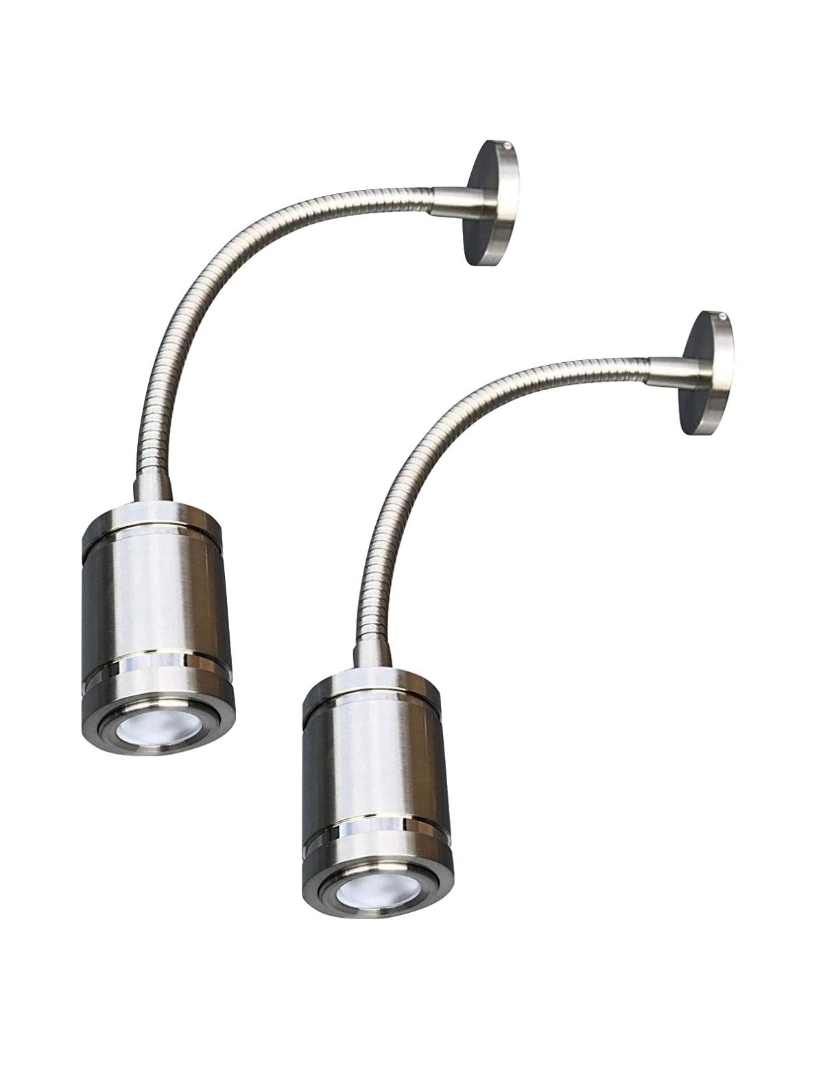 LIGHTEU 12V Reading Light RV LED Interior Gooseneck with Switch, Professional Flexible,Wall Light for Bedside, Boat, Yacht, and Caravan, Exquisite 2 Pack (2Long-Nickel) by lighteu