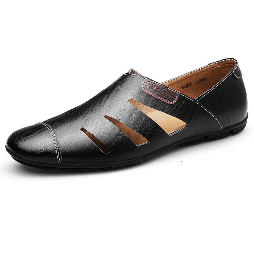 Zapatos Ocasionales Respirables para Hombres Zapatos Huecos De Cuero 41 EU|Black