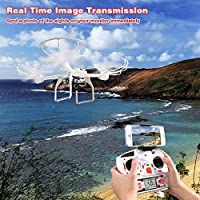 FPV Drone with 720P HD Camera Live Video for Beginners, RC Quadcopter Helicopter with Headless Mode, One Key Return, 360 Degree Flip and Roll, Low Power Alarm, Two Batteries and Fire-proof Bag White from MJX