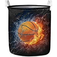 WELLFLYHOM Kids Teens Basketball Themed Laundry Baskets for Baby Boys Room Bathroom Foldable Large Dirty Hamper for…