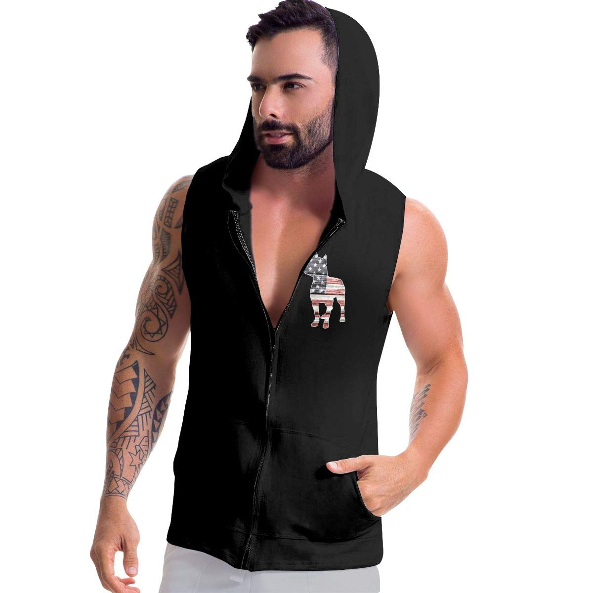 BB/&YYY Patriotic Pitbull American Flag Mens Sleeveless Zipper Hooded Sweater Lifting Vest Tank