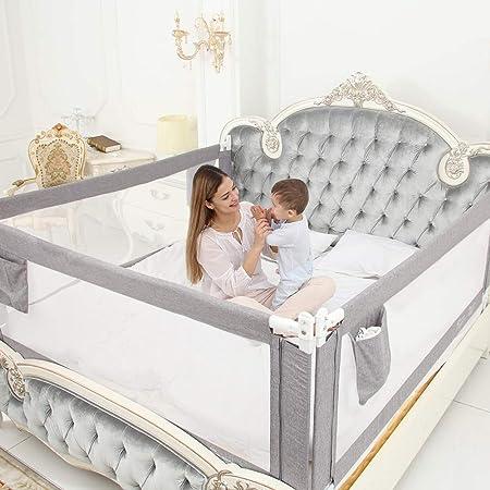 Oferta amazon: ZEHNHASE Barandilla de La Cama Guardia de Seguridad para Niños, Portátil Barrera de cama para bebé Protección contra caídas, Barandilla cama(180cm,Gris,1pcs)