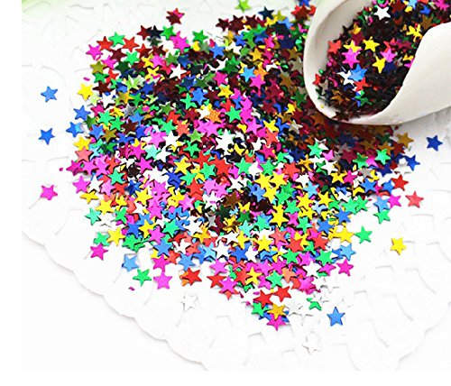 9000PCS IFfree Multicolored Metallic Star Confetti Sequin,Confetti Glitter No hole Metallic Embellishment- 6mm (1/4