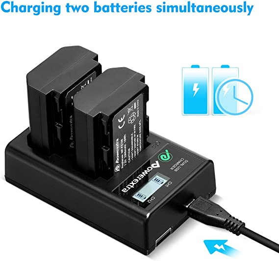 Powerextra Dual USB Charger with Smart LCD Display for Sony NP-FZ100 Battery and Sony A9, A7R III, A7 III Digital Camera