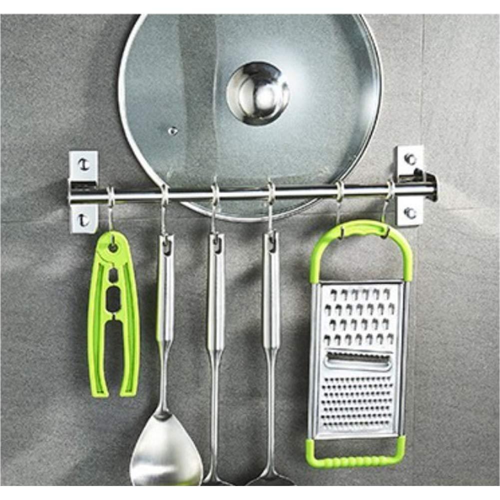 Eleganantamazing Armario y ba/ño Soporte para Barra de Acero Inoxidable con Ganchos para Colgar en la Pared Utensilios de Cocina