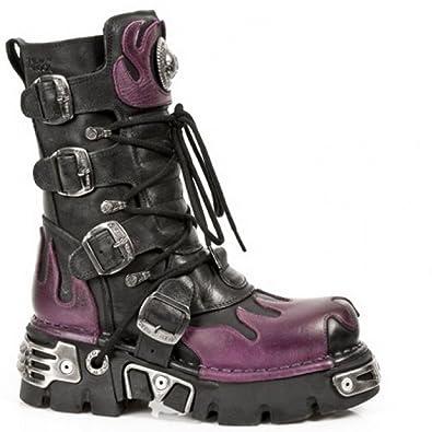4214e8250f1 Bottes New Rock 591-S3 gothique motard flamme violette métallique cuir noir
