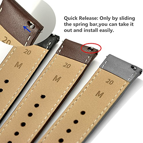 LEUNGLIK 20mm Watch Band Quick Release Leather Watch Bands with Black Stainless Pins Clasp -Brown by LEUNGLIK (Image #4)