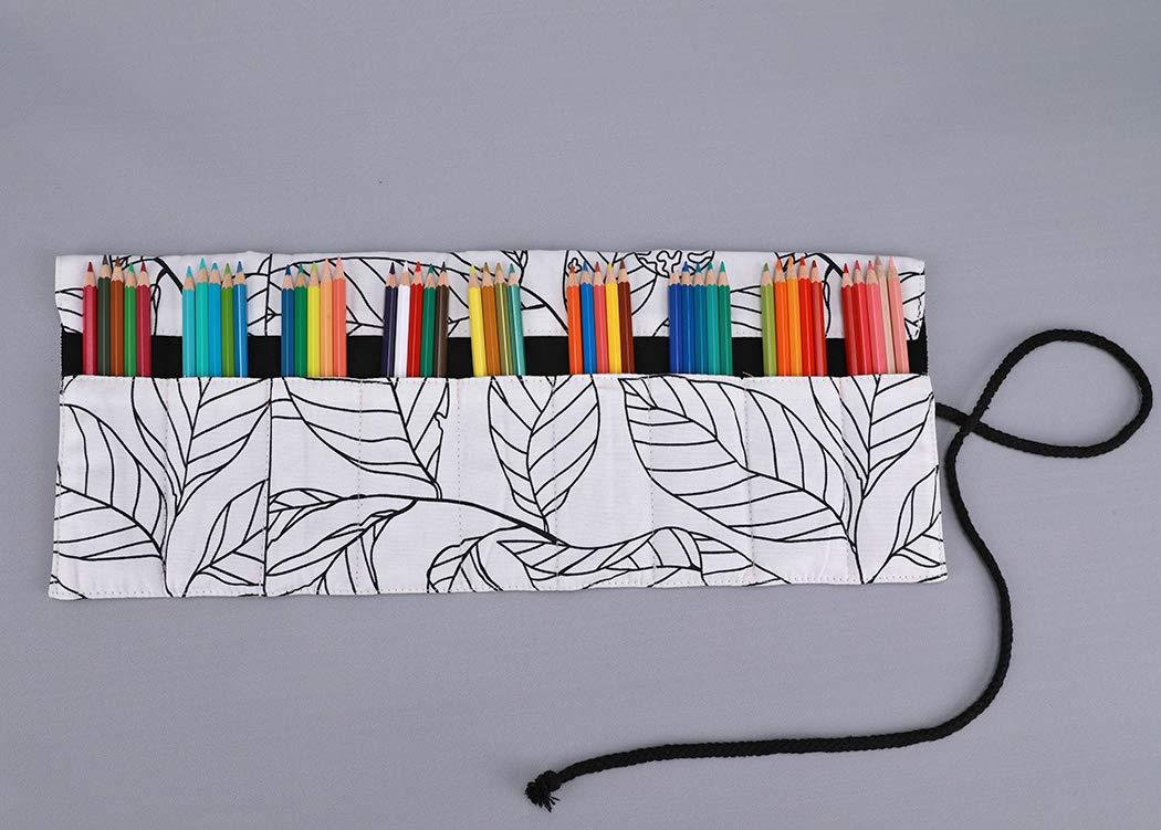 Sac de toile enveloppe de crayon trousse /à crayon enroulable Amoyie Trousses pour 36 crayons de couleur
