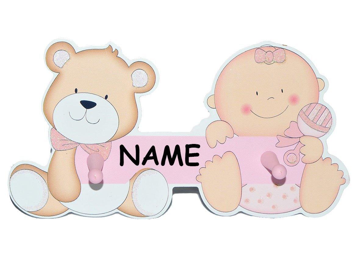 Garderobenhaken incl. Name - Baby und Teddybär - aus Holz rosa ...